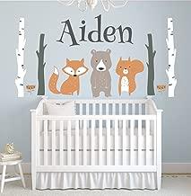 Custom Woodland Animals Name Wall Decal Forest Nursery Baby Room Mural Art Decor Vinyl Sticker LD10 (42