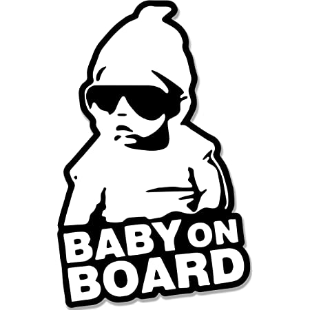 Funny White Vinyl Sign Decal Accessories Child In Sunglasses Cars Bumper Stickers Signs AnOL Baby On Board Car Window Sticker 6x4 inches