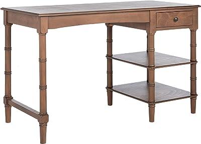 SAFAVIEH Home Collection Henric Black 1-Drawer 2-Shelf Computer Table Office Desk DSK5712B, Brown