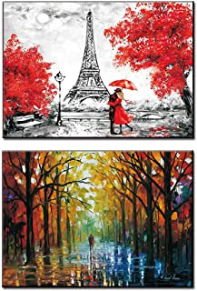 Romantic Lover Canvas Prints Wall Art Posters Eiffel Tower Country Forest Road Oil Painting Artwork Decor for Living Room ...