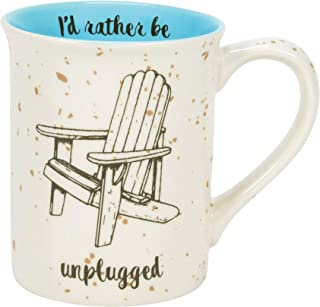 Enesco Our Name is Mud Rather Be Unplugged Coffee Mug, 16 Ounce, White and Blue