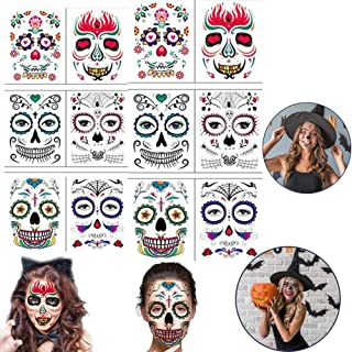 12 Sheets Halloween Temporary Face Tattoos, Transfers Face Tattoo Sugar Skull Stickers Day of The Dead Makeup Rhinestone, ...