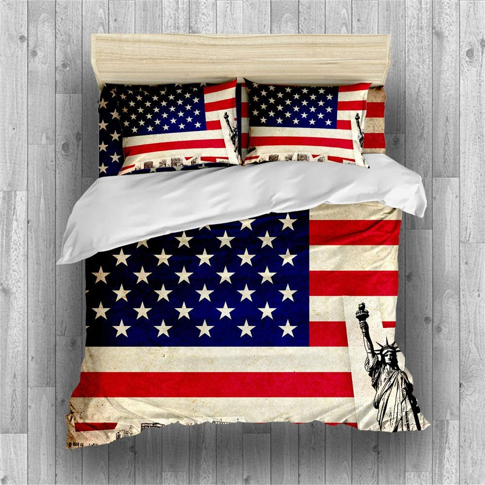REALIN American Flag Duvet ギフト Cover Set V 高額売筋 and Bedding Stripes Stars