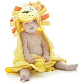 Little Tinkers World Hooded Baby Towel, Lion Design from, Ultra Absorbent, Durable Bath Towel Perfect for Girls and Boys