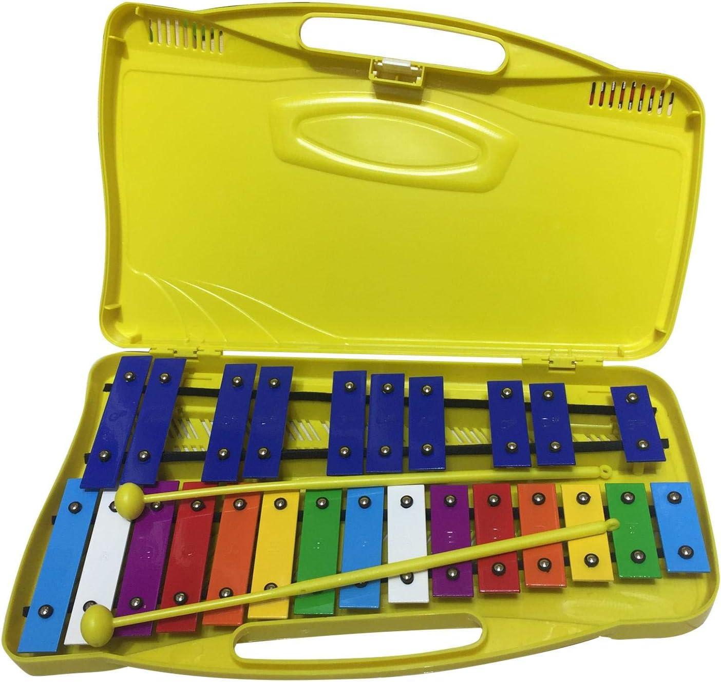 Colorido Instrumento de percusi/ón 2 mazos Seguros para ni/ños Xil/ófono de 25 Notas con Estuche Instrumento Educativo Perfectamente afinado para ni/ños Juguete Musical con afinaci/ón Clara