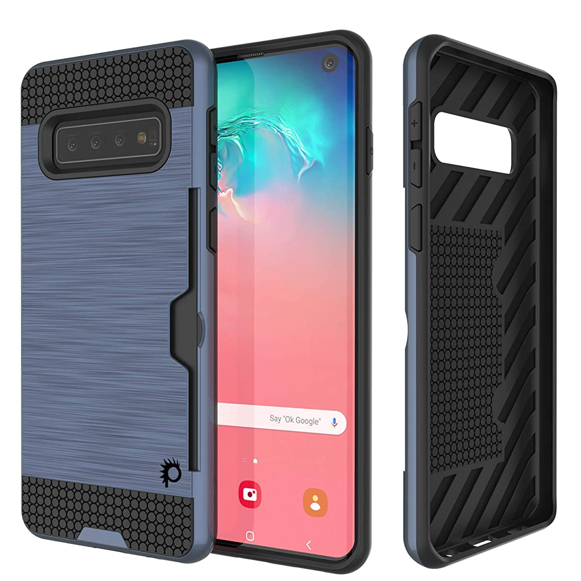PunkCase S10 Case [Slot Series] [Slim Fit] Dual-Layer Armor Cover w/Integrated Anti-Shock System, Credit Card Slot & PUNKSHIELD Screen Protector Compatible W/Samsung Galaxy S10 [Navy]