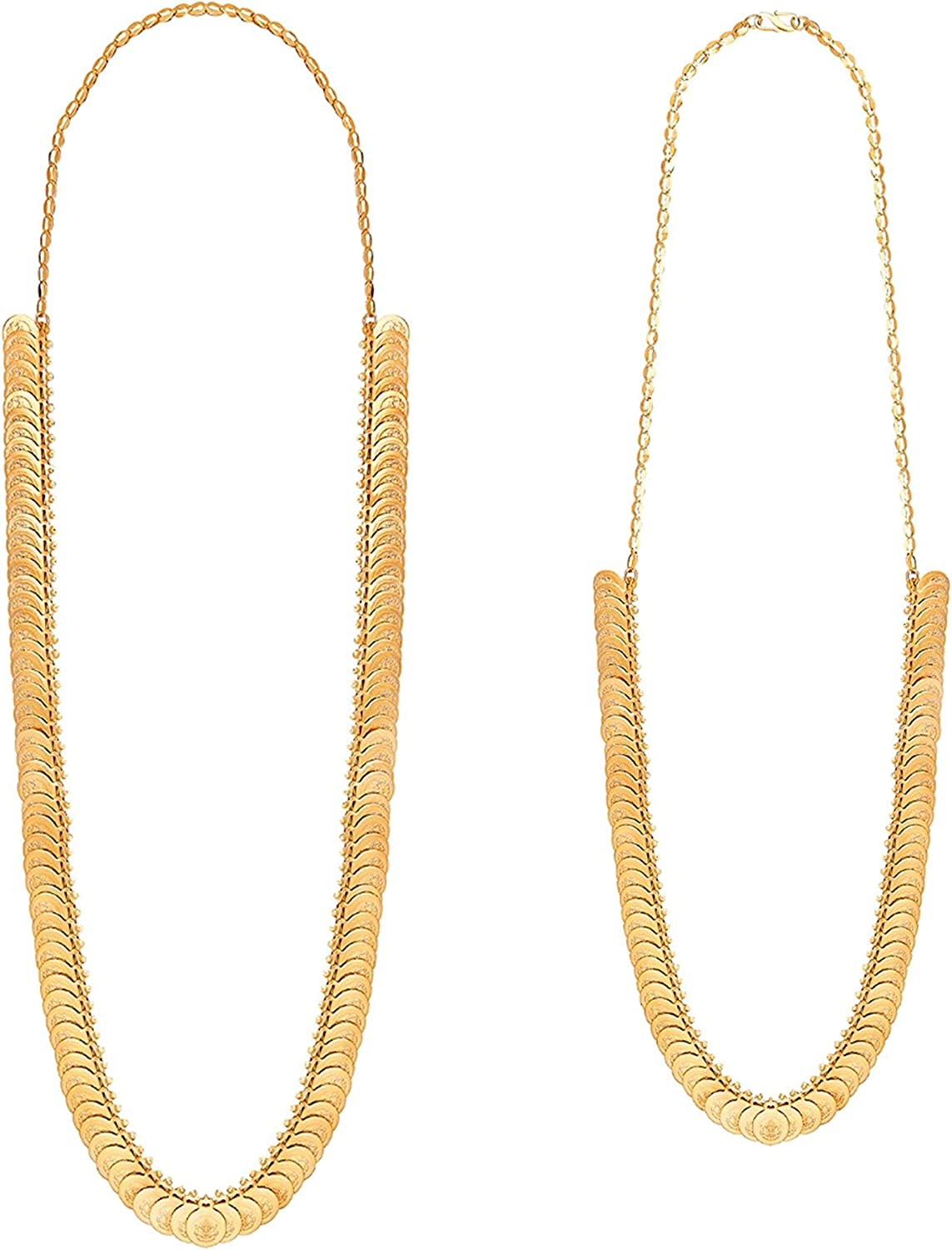 Bodha Tradtional Indian Temple Necklace Jewelry Gold Plated Laxmi Coin Combo Chain Necklace for Women (SJNC_204)