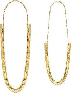 قلادة معبد هندي تقليدي من بودها مجوهرات مطلية بالذهب بعملة لاكسمي سلسلة سلسلة كومبو للنساء (SJNC_204)