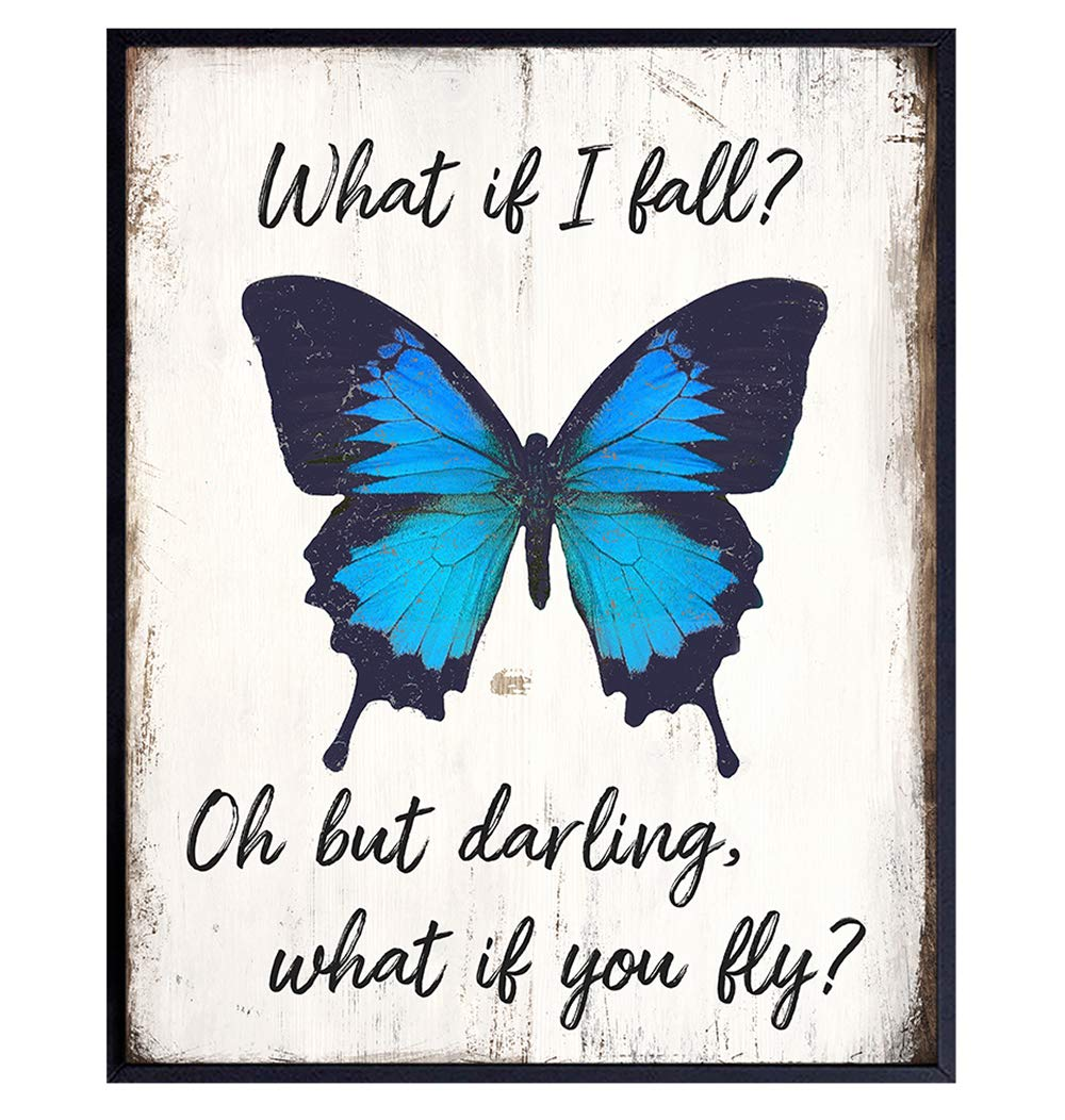 Butterfly Inspirational Quote Wall Art - Rustic Home Decor, Room Decorations for Bedroom, Living Room - Boho Encouragement Gift for Women, Girls, Teens, Best Friend, BFF – Sign Plaque Poster -Unframed