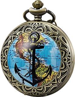 Morfong Mens Womens Pocket Watch Quartz Movement Fob Watches Vintage Steampunk, Blue Bronze Case