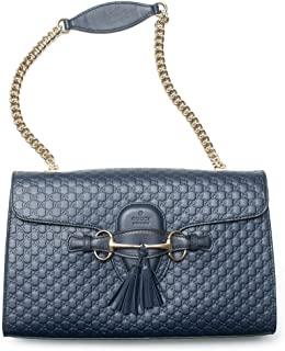 Gucci Emily Navy Blue Micro Guccissima Monogram Leather Tote Bag New