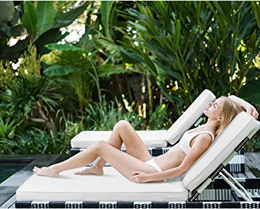 AAAAAcessories Outdoor Chaise Lounge Cushion,80 x 26 x 3 Inch, Light Gray/Cool Gray