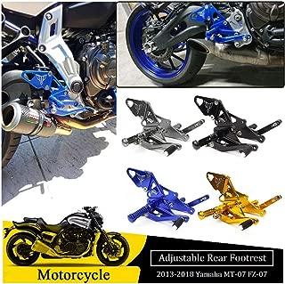 FocusAtOne Motorcycle CNC Billet AdjustableRearsetsRear Passenger Foot Peg Footpeg Footrest Bracket Set for 2013-2018 Yamaha MT FZ 07 MT-07 FZ-07 MT07 FZ07 2014 2015 2016 2017 13-18 (Blue)