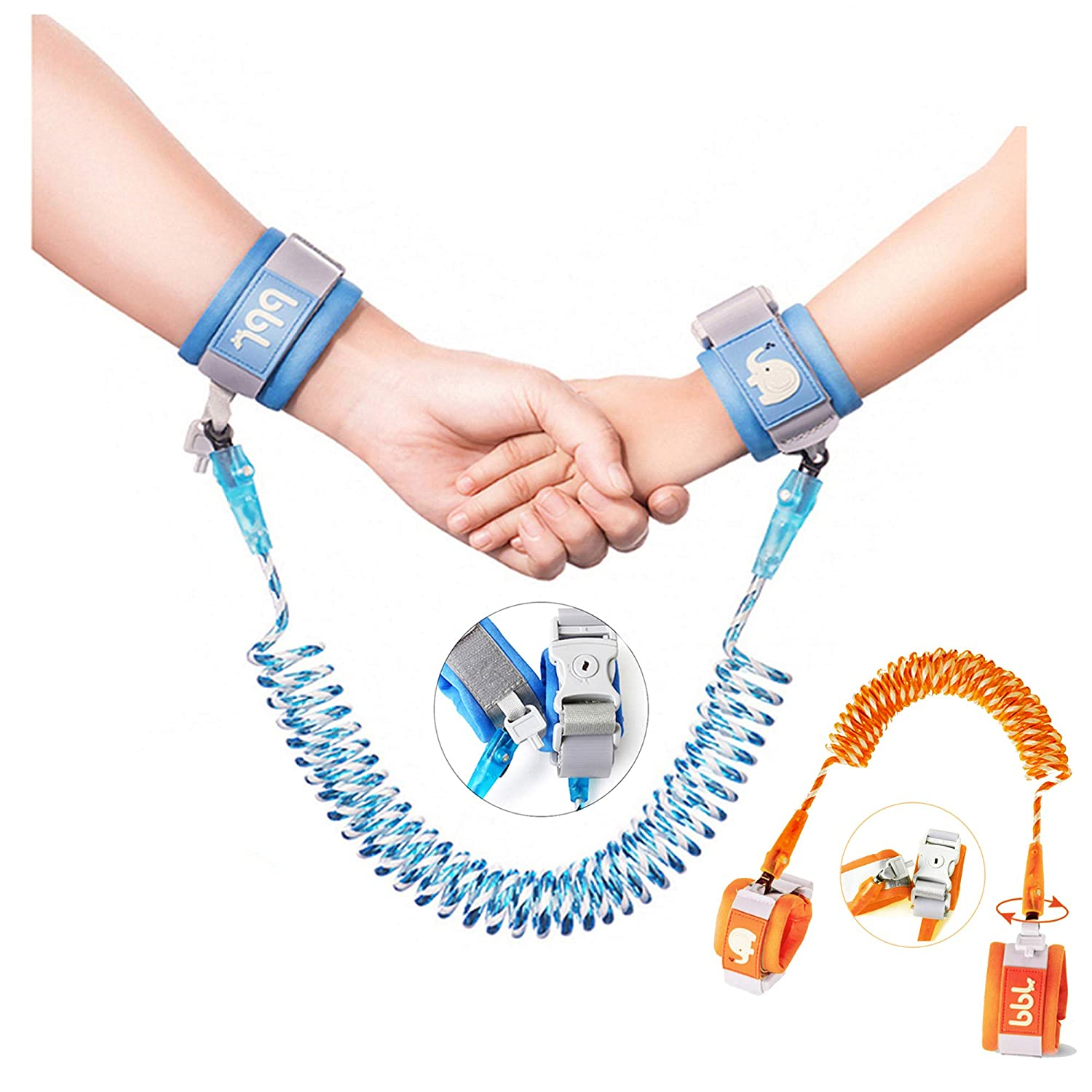 Toddler Harness Walking Leash- Child Anti Lost Wrist Link - Child Safety Harness - Upgrade with Reflective Blue(8.2ft) and Orange(4.9ft)- for Boys and Girls,Not Easy to Open Without Key