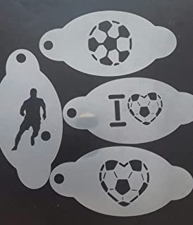 4 x Football/Soccer face Painting Stencils Reusable Many Times (4 Different Designs)