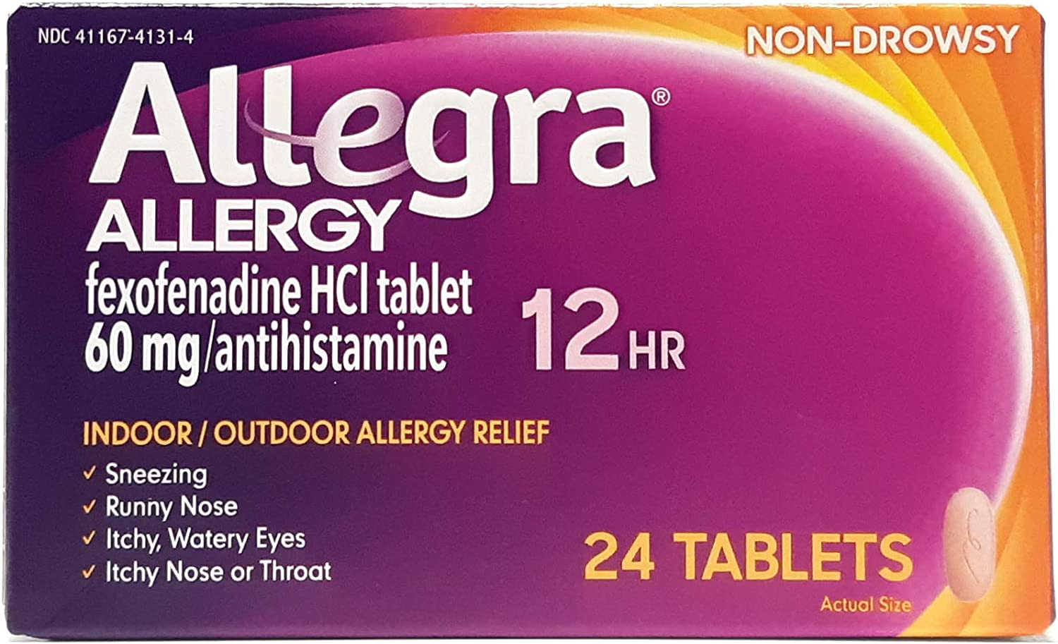 Allegra 12 Hour 55% OFF Allergy Relief 60mg New Shipping Free Shipping - 24Ct Tablets Pack 3 of