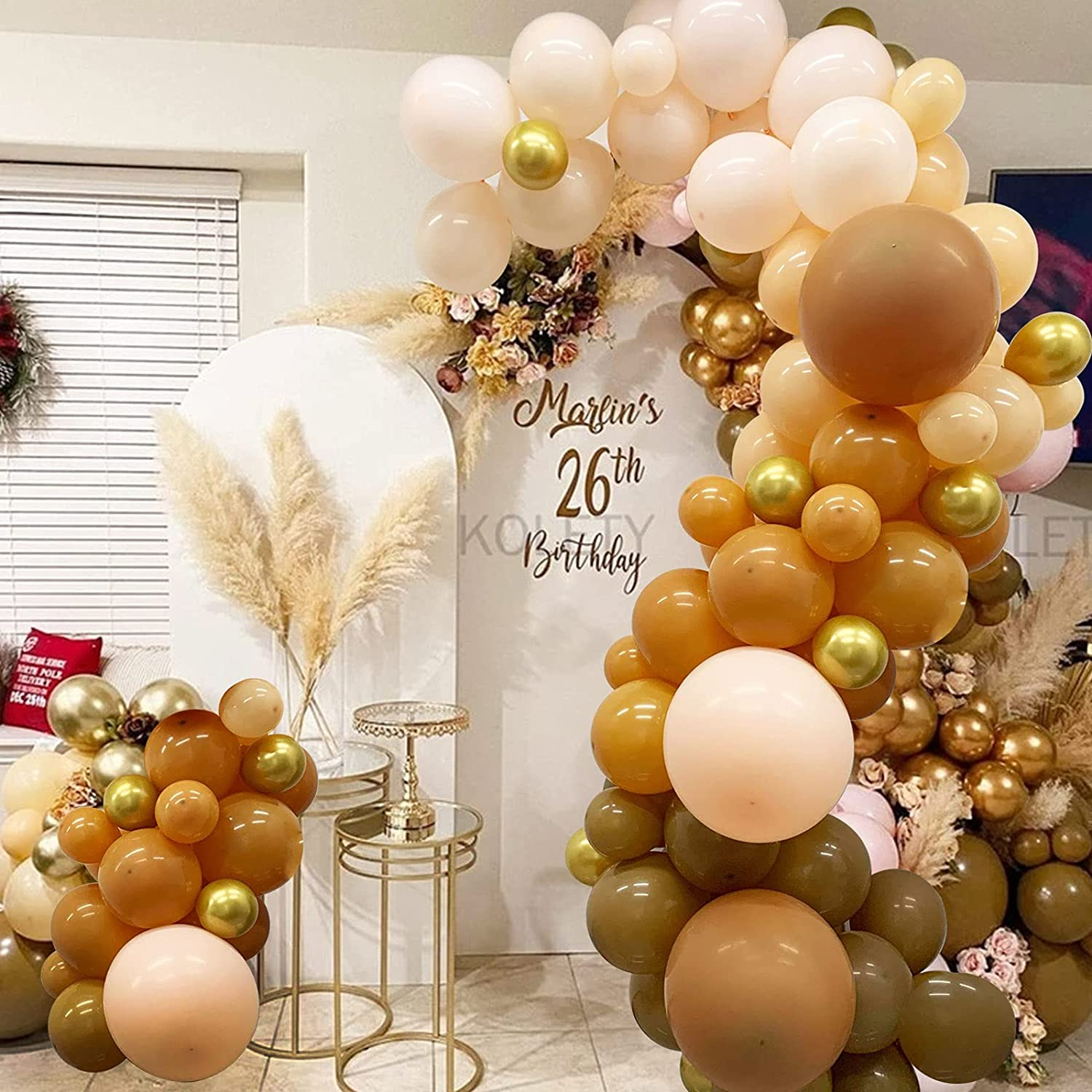139pcs Pastel Brown Balloon Arch Garland Kit - Coffee Blush Gold Balloons for wild one birthday teddy bear woodland baby shower Safari jungle party decorations
