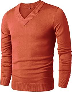 LTIFONE Mens Slim Comfortably Knitted Long Sleeve V-Neck Sweaters