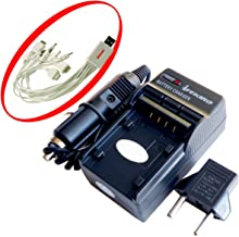 iTEKIRO AC Wall DC Car Battery Charger Kit for Sanyo VPC-E870 VPC-E870G + iTEKIRO 10-in-1 USB Charging Cable