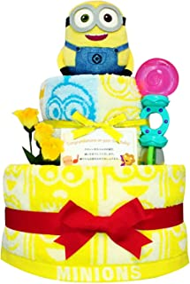 おむつケーキ [ 男の子 : 女の子/ミニオン : ミニオンズ / 2段 ] パンパースS22枚 (出産祝いに大人気)3001 ダイパーケーキ ギフト 赤ちゃんの内祝い にもおすすめ