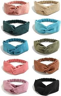 KWHY 10 Pack Boho Headbands for Women Girls Criss Cross Elastic Hair Band Twisted Head Wrap