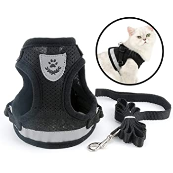 SMALLLEE/_LUCKY/_STORE Soft Mesh Refective Cat Harness and Leash Set Escape Proof Adjustable No Pull Choke Safe Walking Jacket Boy Girl Small Puppies Kitten Dog Haness Vest,Red Medium