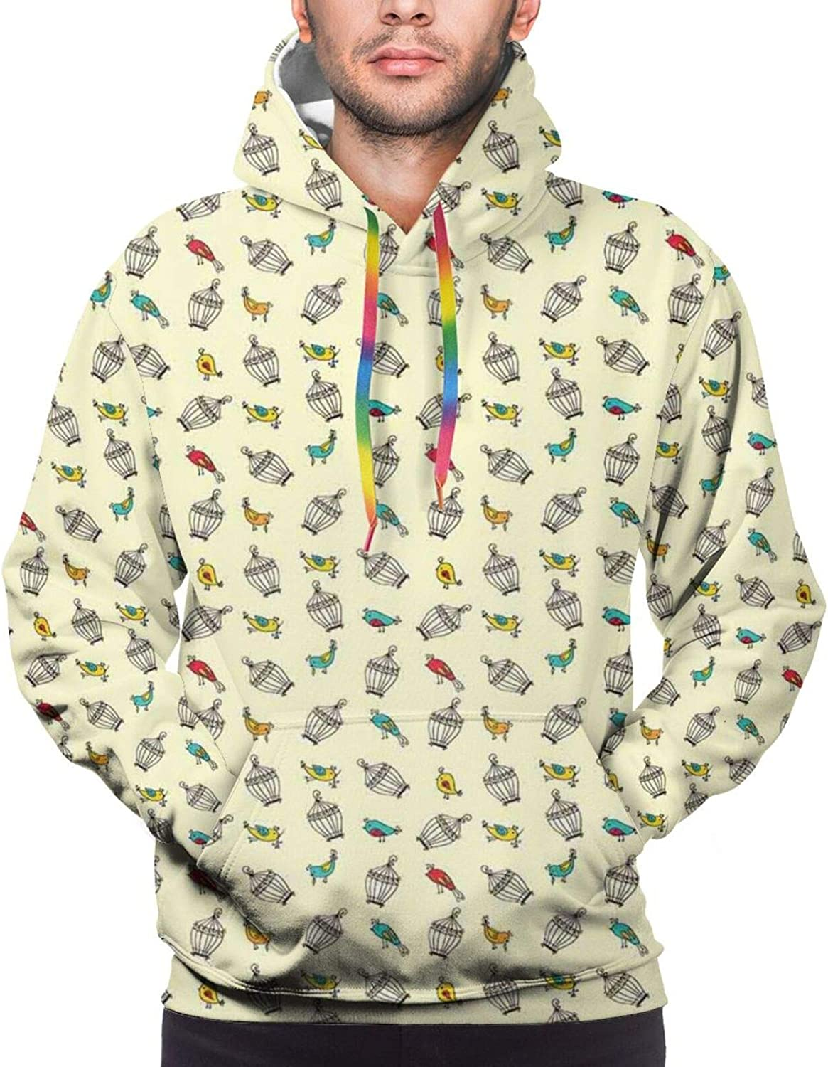 Men's Hoodies Sweatshirts,Colorful Little Birds Pattern with Green Leaves and Small Flowers On Their Beaks