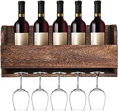 MITIME Floating Wine Shelf and Glass Rack Set Wall Mounted Paulownia Wood Wine Rack 5 Bottle 5 Long Stem Glass Holder