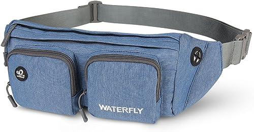 WATERFLY Waist Bag Water Resistant Fanny Packs for Men Women Outdoor Travel Running Walking Multi-Purpose Waist Pouch