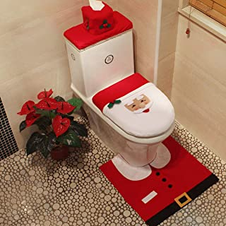 Aptech 3-Piece 3D Snowman Santa Toilet Seat Cover and Rug Set Red Christmas Decorations Bathroom, Anti-Skid and Waterproof...