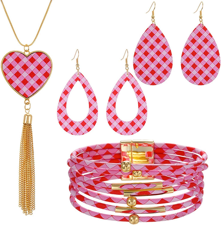 Caiyao 4-6Pcs Faux PU Leather Buffalo Plaid Print Jewelry Set Multi-Layer Love Heart Pattern Stacking Bracelet Dangle Drop Earring Pendant Necklace for Women Girl