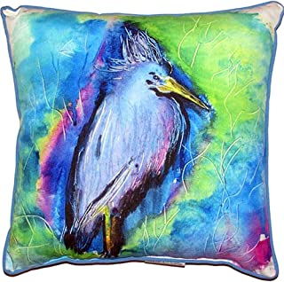 "Betsy Drake HJ438 Little Blue Heron Indoor/Outdoor Pillow, 18"" x18"""