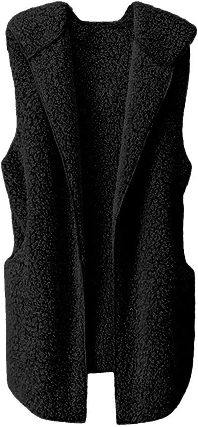 Forwelly Sleeveless Cardigan for Womens Winter Warm Hooded Waistcoat Casual Open Front Vest Coat Jacket