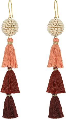 Chan Luu - 3 Tiered Tassel Earrings with Beaded Pom Pom