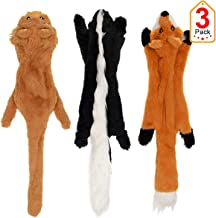 Vitscan Stuffless Dog Toys, Durable Stuffingless Dog Plush Squeaky Toy Set Fox Skunk Lion Dog Chew Toys 3 Pack for Small Medium Dog