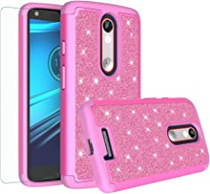 Droid Turbo 2 Case, Glitter Bling Shock Proof Hybrid Case with [HD Screen Protector] Dual Layer Protective Phone Case Cover for Motorola Verizon Droid Turbo 2 / Moto X Force (2015) - (Hot Pink)