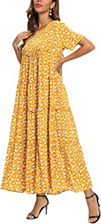 FridayIn Women's A-Line Short Sleeve Fashion Floral Printed Scoopneck Swing Long Dresses