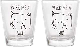 Purr Me a Shot - Funny Cat Gifts, Cat Shot Glass, Funny Middle Finger Cat Shotglass (2)