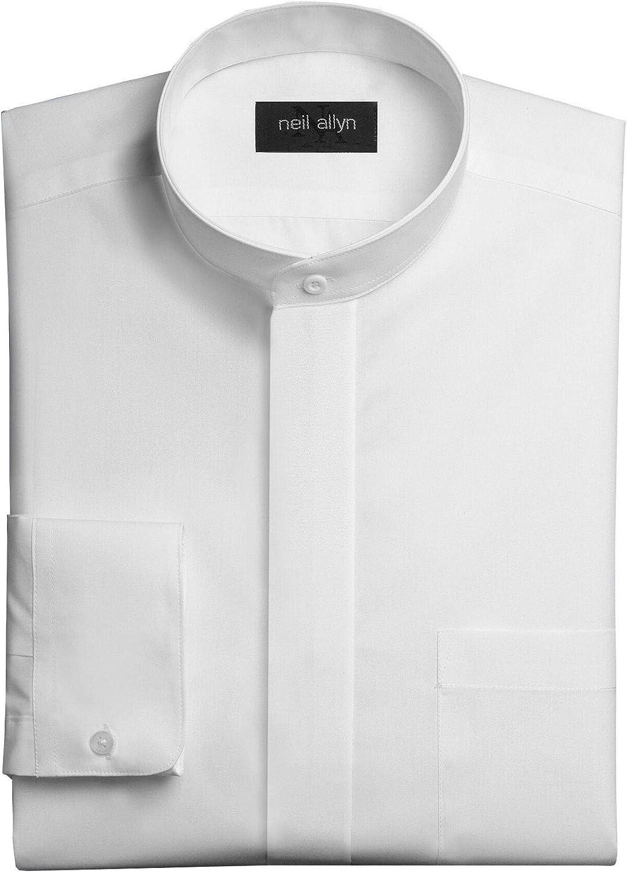 NEIL ALLYN Men's White Banded Collar Dress Shirt-4XL