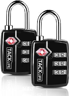 TACKLIFE-Lucchetto per valigie combinazione,2 PEZZI Lucchetti per bagagli di sicurezza doganale TSA 3 cifre Combinazione d...