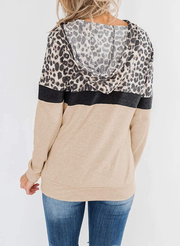 EVALESS Women Sweatshirts and Hoodies Long Sleeve Drawstring Sweatshirts Color Block Leopard Pullover Top