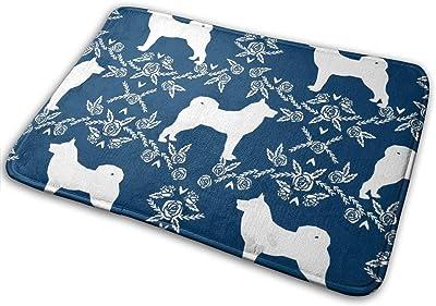 """Akita Silhouette Florals Dog Pattern Navy_18076 Doormat Entrance Mat Floor Mat Rug Indoor/Outdoor/Front Door/Bathroom Mats Rubber Non Slip 23.6"""" X 15.8"""""""
