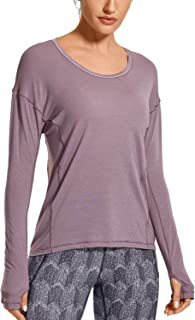 CRZ YOGA Women's Ultra-Light Quick Dry Long Sleeve Athletic Shirt Workout Tops Activewear