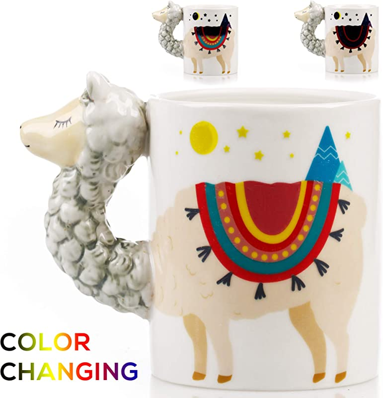 Color Changing Llama Mug 3D Ceramic Lama Coffee Mugs Novelty Alpaca Llama Gifts Perfect Holiday Or Birthday Gift For Llama Lovers Great Kitchen Office Or Bedroom Decor Makes A Great Cup Of Tea