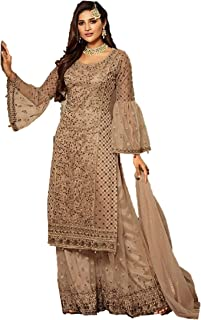 Infamiss Sharara Salwar Suit For Women Heavy Embroidery + Stone Work With Dupatta :-Net With Four side lace