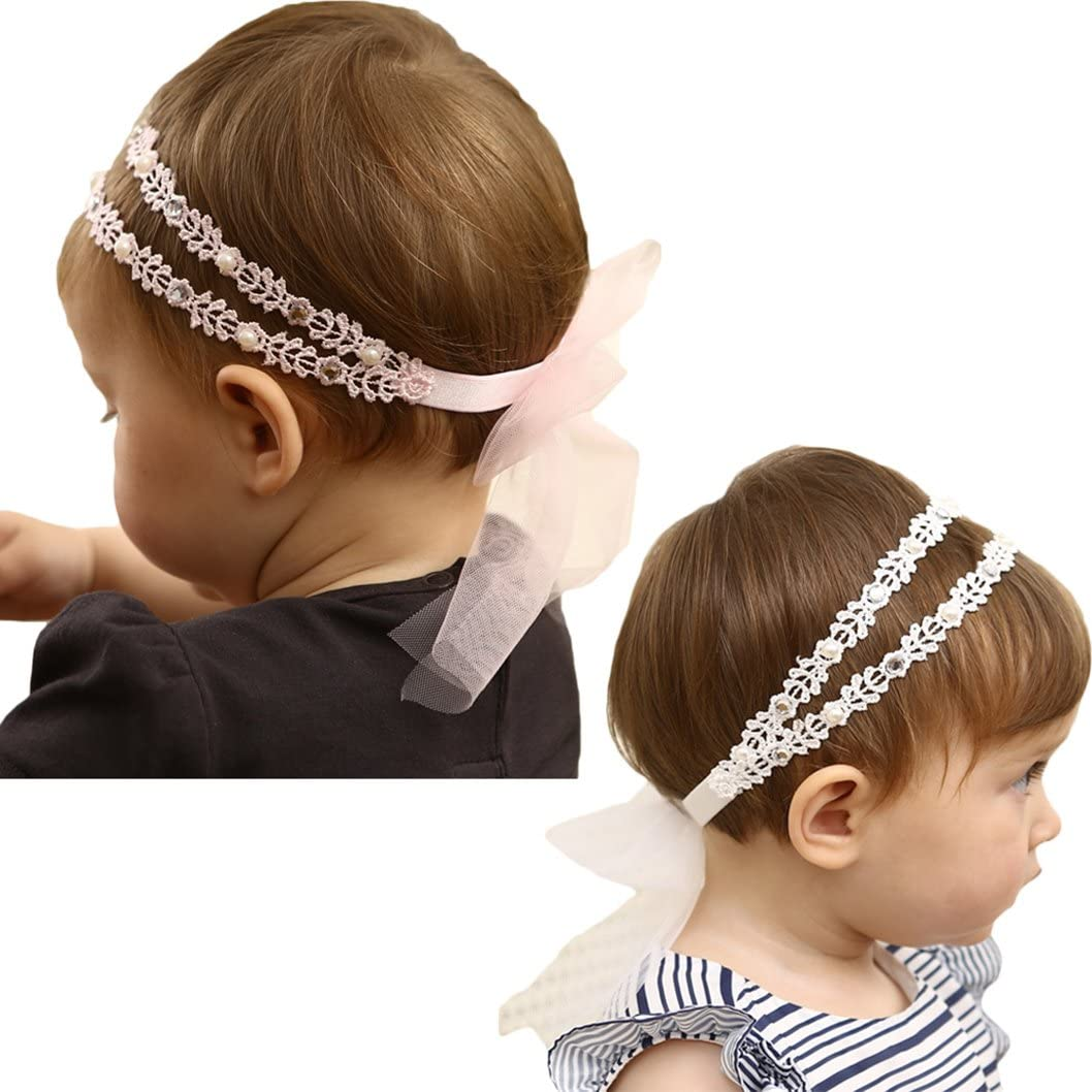DANMY Baby Girl Super Elastic Headband,Cotton Lace Toddler Hair Band,Infant Soft Turban Hair Accessories Set (White Pink 2pcs)