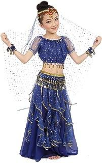 Girls Belly Dance Top Skirt Set Halloween Costume with Head Veil,Waist Chain