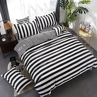 wuy Black and White Bedding Set 3PC Striped Duvet Cover Pillowcase Reversible Design HomeTextiles (Full,1 Duvet Cover +2 Pillow)