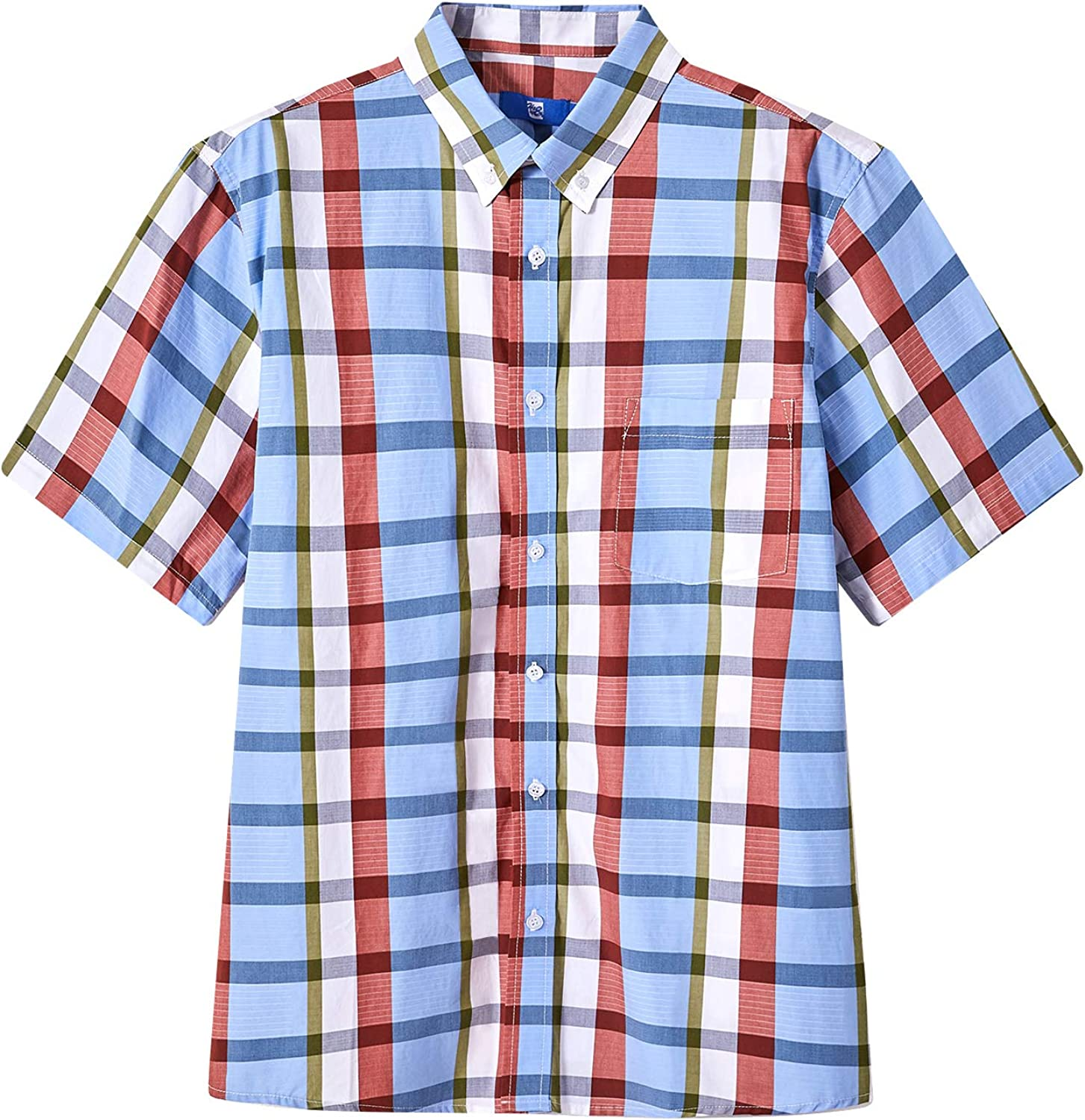 HZHY safety Men's Casual Button-Down New item Short Sleeve Shirts Cotton 100%