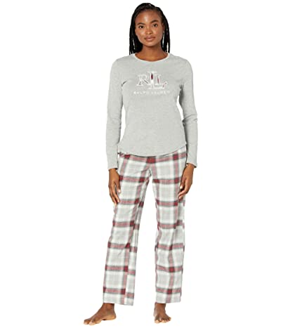 LAUREN Ralph Lauren Long Sleeve Knit Top Long Pants Pajamas w/ Applique (Grey Plaid) Women